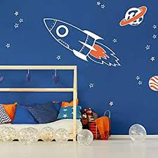 Amazon Com Rocket And Stars Wall Decal Pack White Space Wall Decals Perfect For A Creating A Space Themed Room Baby