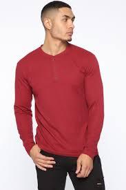 Wesley Long Sleeve Henley - Red - Mens Tees & Tanks - Fashion Nova
