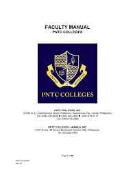 pntc colleges faculty manual