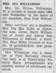 Austin American-Statesman 14 Jul 1955 Mrs Ida Miriam Williamson obit -  Newspapers.com