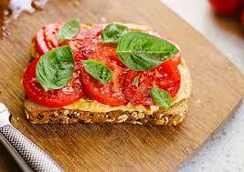 Tomato and Hummus Toast with Fresh Basil - Food Banjo