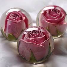 preserved rose in liquid inside crystal