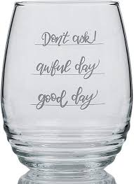 stemless red wine glass with funny