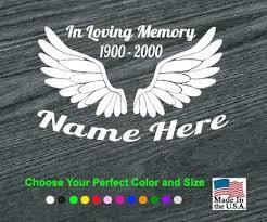 In Loving Memory Vinyl Decal Stickers Angel Wings A2 Sticker Flare Llc