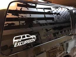 Tattered Flag Window Decal Ford Excursion Fan Club Ford Excursion Window Decals Excursions
