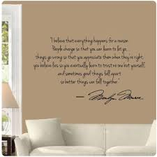 Amazon Com Marilyn Monroe I Believe Everything Happens For A Reason Better Things Can Fall Together Wall Decal Sticker Home Kitchen