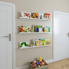 Wallniture Metallo 46 Floating Shelves For Kids Room Decor And Nursery Metal White Set Of 3 Walmart Com Walmart Com