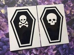 Skull Coffin Vinyl Decal Car Decal Laptop Sticker Spooky Goth Gothic Car Decals Vinyl Spooky Stickers Vinyl Sticker