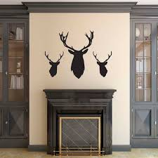 Stag Head Wall Stickers Pack Of 3 Stag Deer Head Silhouette Decals Ebay