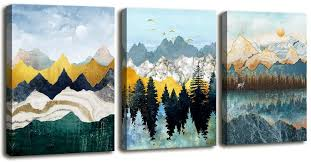 Amazon Com Abstract Geometric Mountain Watercolor Painting Wall Decoration For Bedroom 3 Piece Abstract Canvas Wall Art For Living Room Modern Canvas Prints Kitchen Bathroom Wall Decor Office Home Decoration Posters Prints