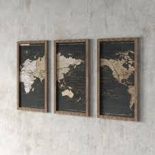 Greyleigh World Map In Gold And Gray 3 Piece Picture Framed Graphic Art Print Set On Acrylic Reviews Wayfair