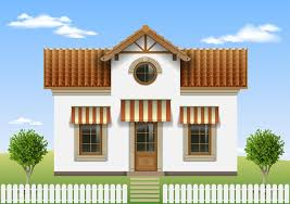 Beautiful Little House With A Fence And Trees Download Free Vectors Clipart Graphics Vector Art