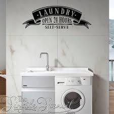 Laundry Open 24 Hours Self Serve Wall Window Decal Sticker Simple Stencils