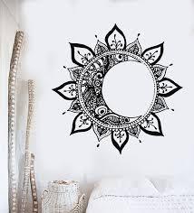 Vinyl Wall Decal Mandala Sun Moon Night Flower Meditation Yoga Bedroom Wallstickers4you