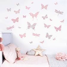 Butterfly Wall Stickers In Dusty Pink And Grey Etsy