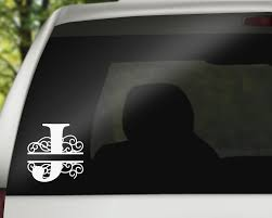 Swirl Letter J Monogram Vinyl Decal With Name Personalization