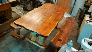 Hand Made Live Edge Cedar Dining Table And Benches By Timbertotables Custommade Com