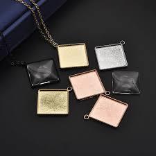16pcs 20mm square diamond cabochon base
