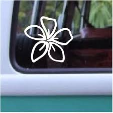 Amazon Com Aloha Maui Creations Plumeria Decal Hawaiian Flower Vinyl Sticker 4 By 4 25 Inch Automotive