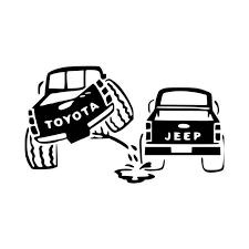 Toyota Peeing On Jeep Vinyl Decal Sticker