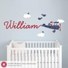 Airplane Name Wall Decal Boy Skywriter Travel Theme Nursery Etsy