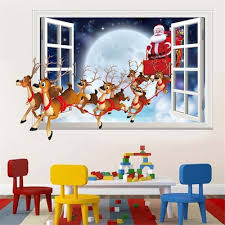 Santa Claus Wall Sticker Imitation 3d Effect Removable Fake Window Sale Price Reviews Gearbest Mobile