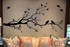 Amazon Com Large Tree Branch Wall Decal Deco Art Sticker Mural With 10 Birds Black Arts Crafts Sewing