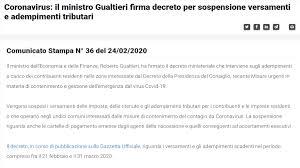 Coronavirus: sospensione scadenze fiscali, pubblicato il decreto MEF