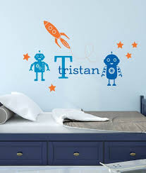 Wall Decals Rocket Robots Stars Personalized Name Wall Etsy