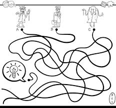 Idee Doolhof Spel Kleurplaat Premium Vector