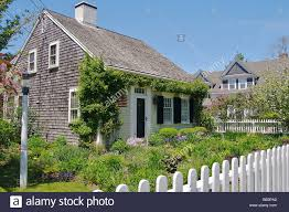 North America Usa Massachusetts Chatham A Cape Cod House With A Stock Photo Alamy