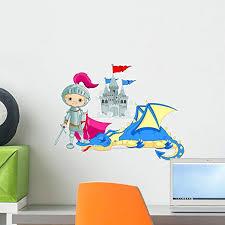 Amazon Com Wallmonkeys Dragon And Knight Wall Decal Peel And Stick Graphic 18 In W X 15 In H Wm292192 Home Kitchen