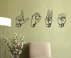 Amazon Com I Love You Sign Language Wall Decal Vinyl Graphic Asl Art Sticker Decoration Large Decor Mural Home Kitchen
