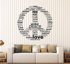 Amazon Com Large Vinyl Wall Decal Hippie Symbol Words Love Music Stickers Mural Large Decor Ig4415 Black Home Kitchen