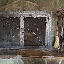 wrought iron fireplace screen door set