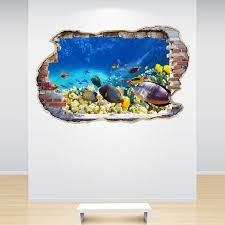 Tropical Fish Wall Decal Smashed Wall 3d Effect Fish Tropical Etsy Wall Stickers Bedroom Kids Bedroom Decor Wall Decals