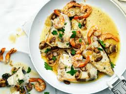 Braised Halibut with Mushrooms and ...
