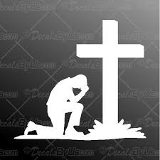 Great Deals On Man Praying At Cross Truck Car Decals