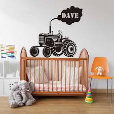 Custom Name Tractor Farm Wall Sticker Boy Room Kids Room Personalized Name Tractor Truck Farm Wall Decal Bedroom Vinyl Decor Wall Stickers Aliexpress