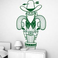 Large Sheriff Catus Cowboy Wall Sticker Playroom Kids Room Desert Plant Forest Catus Wall Decal Baby Nursery Vinyl Home Decor Wall Stickers Aliexpress