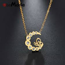 initial women necklace gold