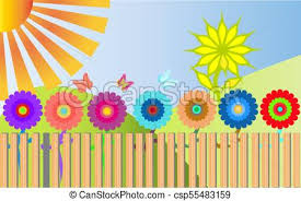 Many Colorful Bright Motley Flowers Grow Behind A Wooden Fence And Around Them Fly 3 Multicolored Butterflies A Large Tree