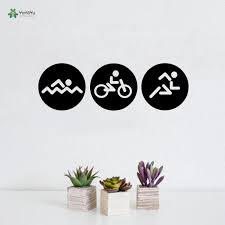 Wall Decal Biking Swim Triathlon Sport Vinyl Wall Sticker Art Mural Interior Gym Room Poster Creative Home Decor Diy Name Wall Decals Name Wall Stickers From Joystickers 9 86 Dhgate Com