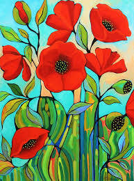 Red Poppy Abstract Painting by Peggy Davis | Saatchi Art