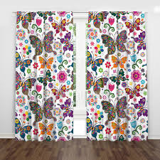 Colorful Butterfly Girly Flower Cute Toddler Window Curtains Children Room