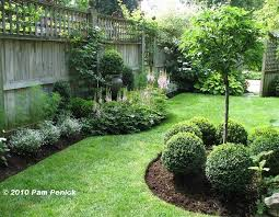 Landscaped Backyard Manicured Shrubs And Mulched Beds Framed By A Tall Privacy Fence Backyard Landscaping Designs Privacy Fence Landscaping Fence Landscaping