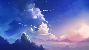 sky clouds blue painting wallpaper