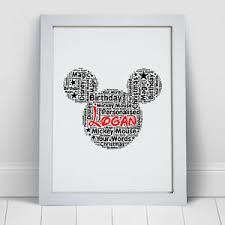 personalised word art mickey mouse ears