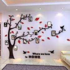 Creative Acrylic Tree Photo Frame Waterproof Three Dimensional Decorative 3d Wall Stickers Frames On Wall Wall Stickers Red Photo Frame Wall