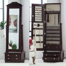 mirror jewelry armoire large wood
